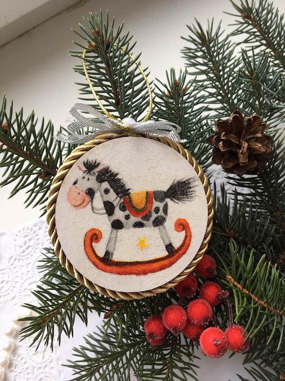Christmas Tree Toys Handmade.Christmas Toy Decorations Animal Toy Wood Toy Handmade Toys Christmas Tree Toys Decoupage Home Decor Tree Ornament