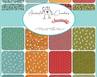 Animal Crackers Fat Quarter Bundle, Layer Cake, Jelly Roll, Honey Bun, Charm Pack by Sweetwater for Moda Fabrics