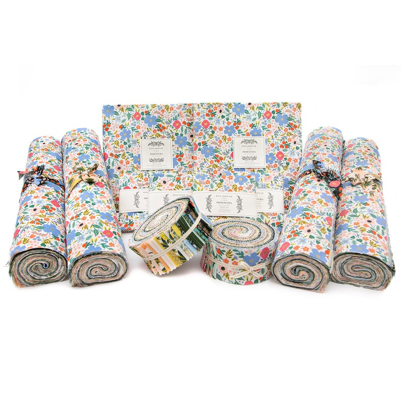Primavera Jelly Roll Layer Cake and Charm Pack by Rifle Paper Co for Cotton and Steel Fabrics From RJR Fabrics