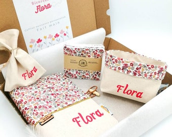 Personalized birth gift box, baby's first name, daughter birth gift, nature small liberty flowers, baby girl gift