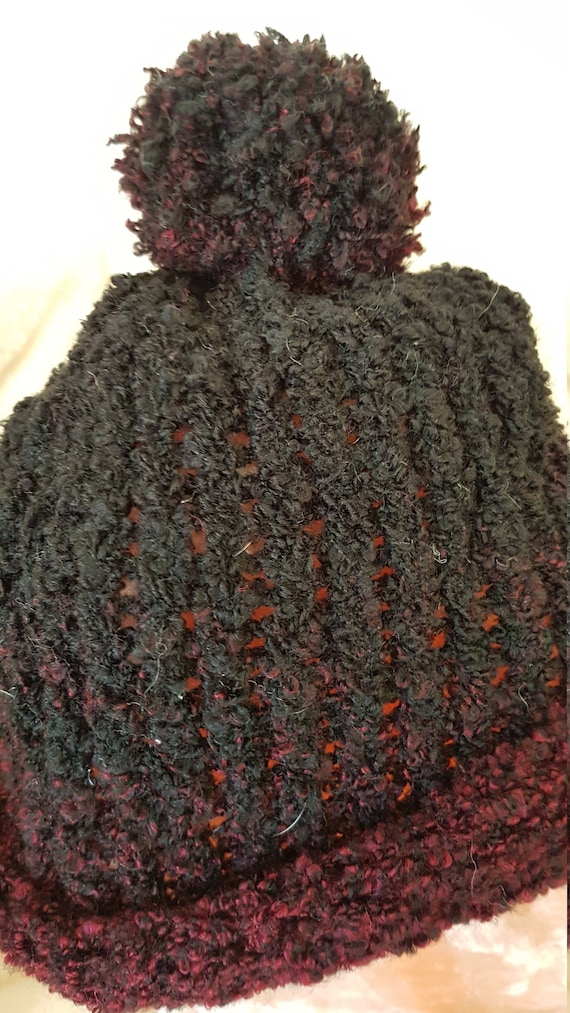 Black and Burgundy Bobble Hat  a6e418672ee
