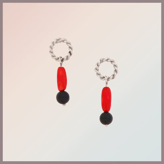 Frida Sterling silver earrings (pair) with coral and lava stone
