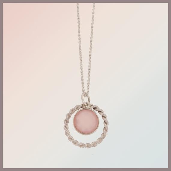 Bridesmaid Rosalie silver necklace with rose quartz