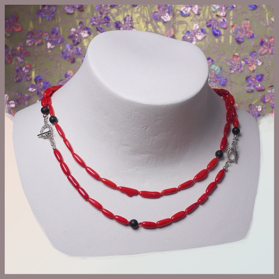 Frida Sterling silver Necklace with Corals and Lava stones
