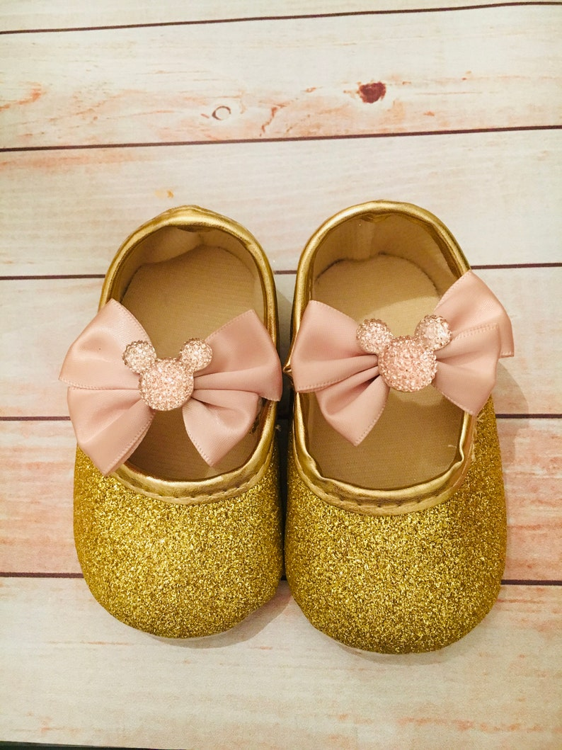Baby Glitter Minnie Mouse Shoes Gold Glitter Shoes 1st