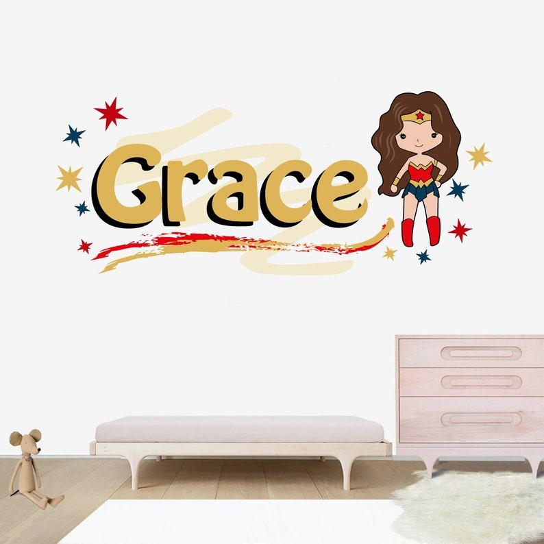 Wall Decal For Nursery Wonderwoman Name Decal Personalized Name Decal Custom Name Decal Name Sticker
