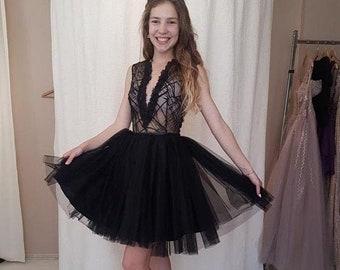 25d2cc061c58 Gothic wedding dress,Black lace gown,Modest wedding dress,Black tulle dress,Formal  lace dress,LBD