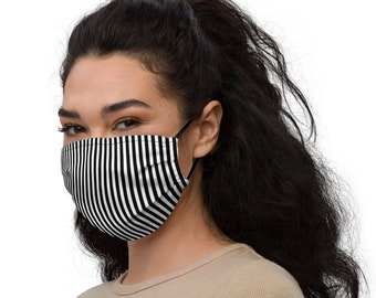 Reusable Face Mask | Black and White Striped | Beetlejuice Face Mask | Adjustable Face Mask | Filter Pocket Face Mask