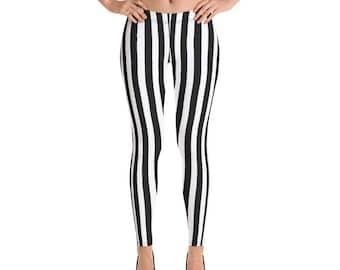 Beetlejuice Leggings | Halloween Pants | Black and White Striped Yoga Leggings | Referee Bottoms