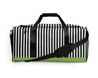 Beetlejuice Duffle Bag | Black and White Striped Tote Bag | Halloween Weekender Bag