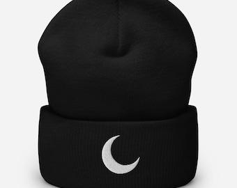 Moon Cuffed Beanie | Crescent Beanie | Winter Hat | Gothic Witch Beanie