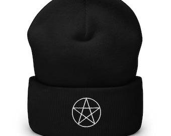Pentagram Cuffed Beanie | Gothic Beanie | Winter Beanie | Black Cuffed Beanie | Witch Beanie
