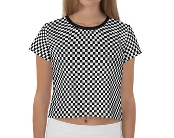 Checkered Crop Top | Checkers Cropped Tee | Black and White Shirt | Punk Alternative Crop Top