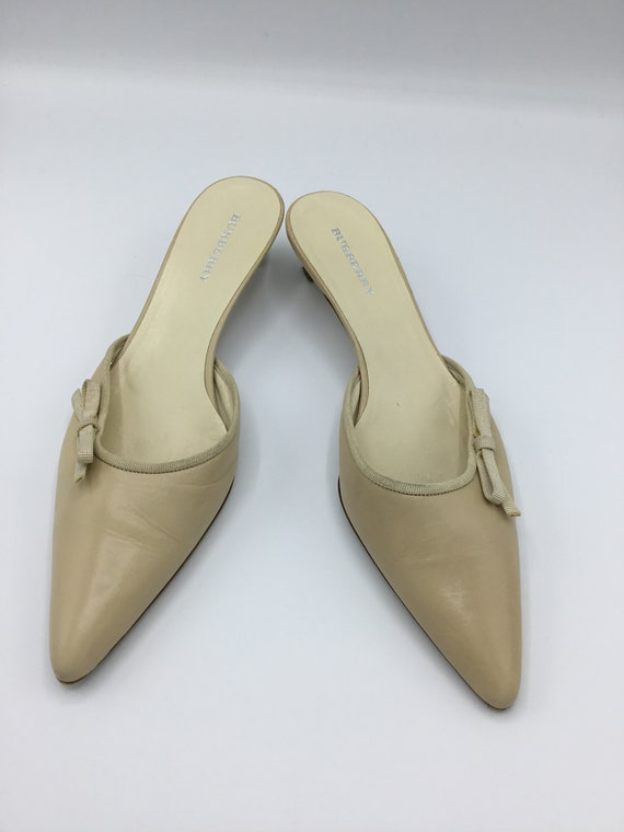 Burberry kitten heels Beige/  Tan /Mules/ Slides - image 6
