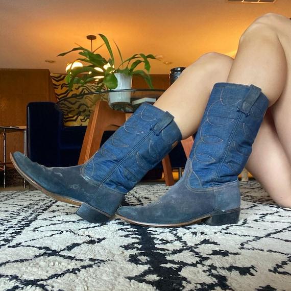 1974 Acme Denim and Blue Suede Cowboy Boots