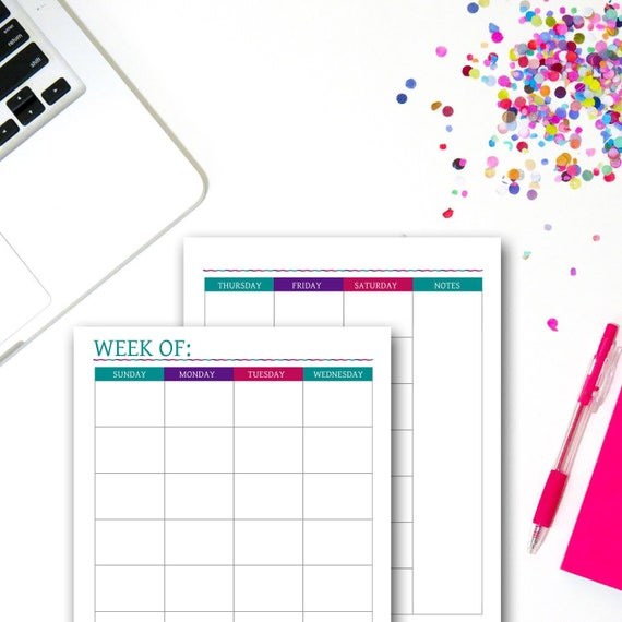 Printable Weekly Planner 2 Page Week Block Schedule