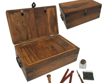 """14-1/2"""" Captain Writing Chest, Nautical, Teak/Mango Wood with 3 Aged Papers, Antique Inkwell, Wooden Pen, Black Ink, Eagle Seal & Wax"""