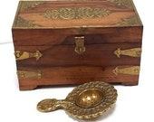 Antique Teak Wood Loose Tea Caddy Solid Brass Tea Strainer Reproduction