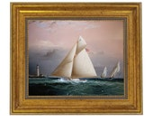 Chiquita Racing Off Boston Lighthouse Framed Oil Painting Print on Canvas in Antiqued Gold Frame
