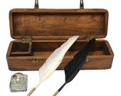 12 quot Colonial Distressed, Teak Wood Quill Pen Writing Pen Box includes Clear Antique Glass Inkwell, Two Feather Quills and Black Ink Powder