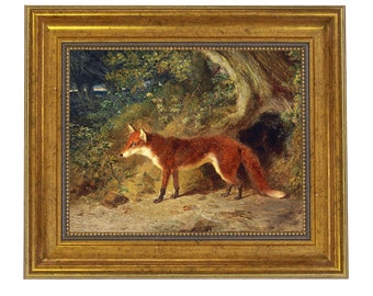 Fox and Feathers Framed Oil Painting Print on Canvas in Antiqued Gold Frame.