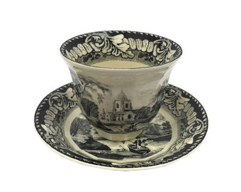 """3-1/2"""" Pond Fishing Transferware Porcelain Handleless Tea Cup and Saucer Antique Reproduction"""