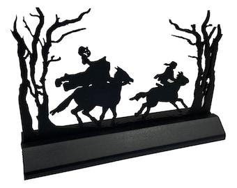 Headless Horseman Scene Standing Wood Silhouette Halloween Tabletop Ornament Decoration