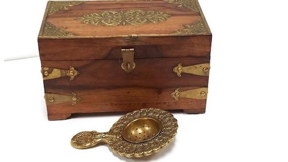 Antique Teak Wood Loose Tea Caddy & Solid Brass Tea Strainer Reproduction