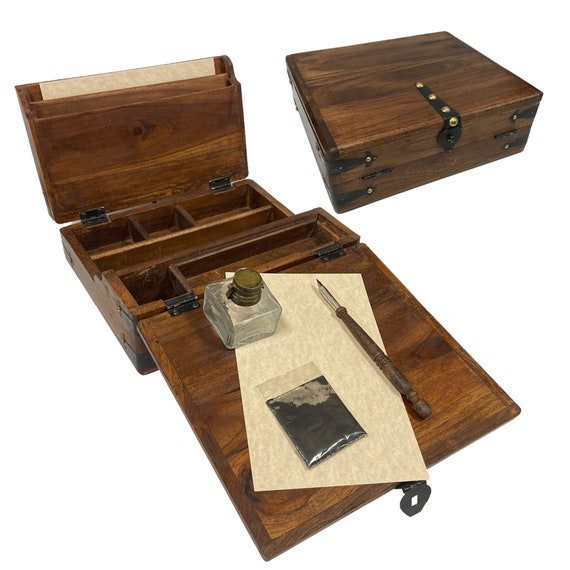 "12/"" Colonial Distressed Teak and Mango Wood Vintage Portable Writing Pen Box"