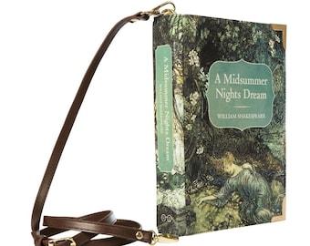 A Midsummer Nights Dream, Book Purse, Vegan Book Clutch, William Shakespeare Fan Gift, Evening Book Handbag, Book Lover Gift, Teacher Gift