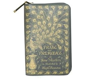 Pride and Prejudice Wallet, Jane Austen Fan Gift, Green Wallet, Book Pouch, Zip Around Wallet, Wife Gift, Book Wallet, Gift For Daughter