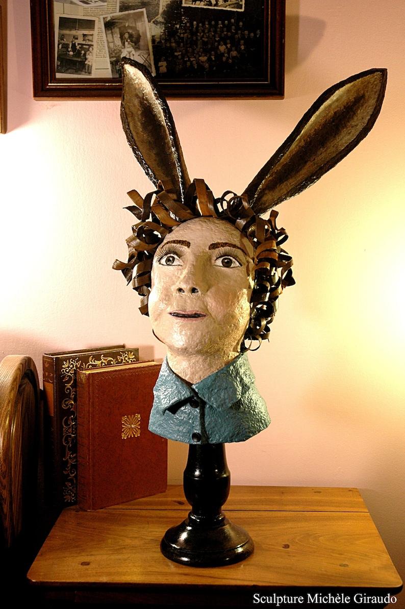 John Edward Sculpture Made Of Paper Mache Boy With Donkeys Ears