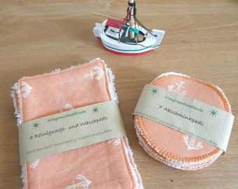 Make-up removal and cleaning pads, washable and sustainable, with maritime anchor motif