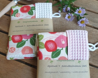 Rinse set with dishcloth and jute scrubbing sponge: washable, reusable, sustainable with exceptional design