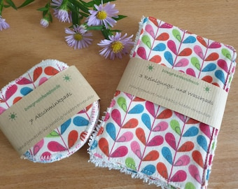 Make-up removal and cleaning pads, washable and sustainable, with pretty design