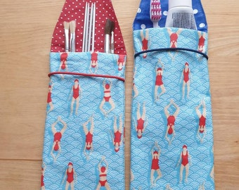 Toothbrush case, toothbrush bag, utensilo in coated cotton with float design
