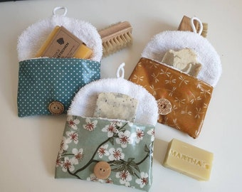Soap bags made of wax cloth and soft terry tea