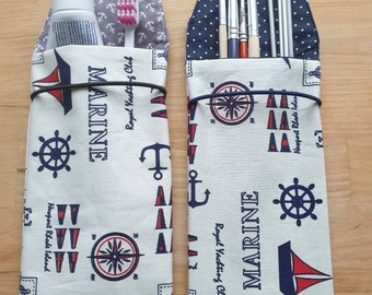 Toothbrush bag, toothbrush case, utensilo in coated cotton in maritime design
