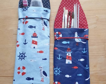 Toothbrush bag, toothbrush case, utensilo in coated cotton with maritime design