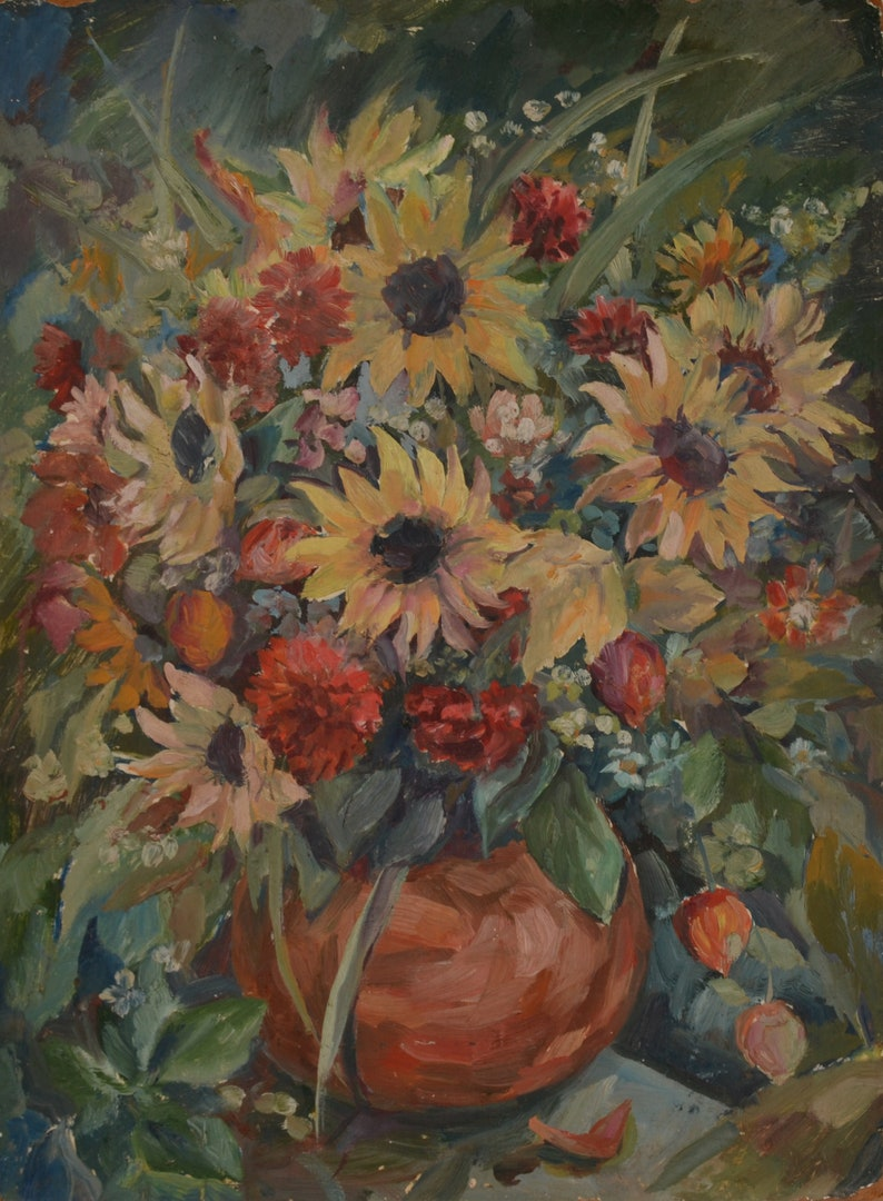 art and collectibles impressionism flower still life Antique oil painting vintage painting original still life