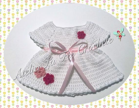 Adorable Robe Bébé Naissance Fait Main Au Crochet