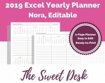 2019 excel calendar | Etsy