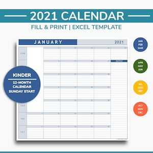 Druckbare Kalender 2021 Excel Vorlage Bearbeitbare Etsy