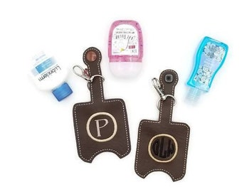 Monogram in Circle Hand Sanitizer Case Bag Tag, Personalized Hand Sanitizer Case Keychain