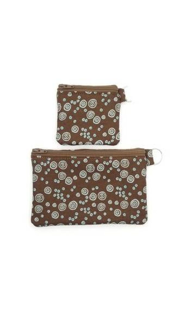 RFID Credit Card Protection EMF Shielding Homeopathic Remedy Storage Purses Small and Medium Sizes RFID Brown and Blue Circle Pattern