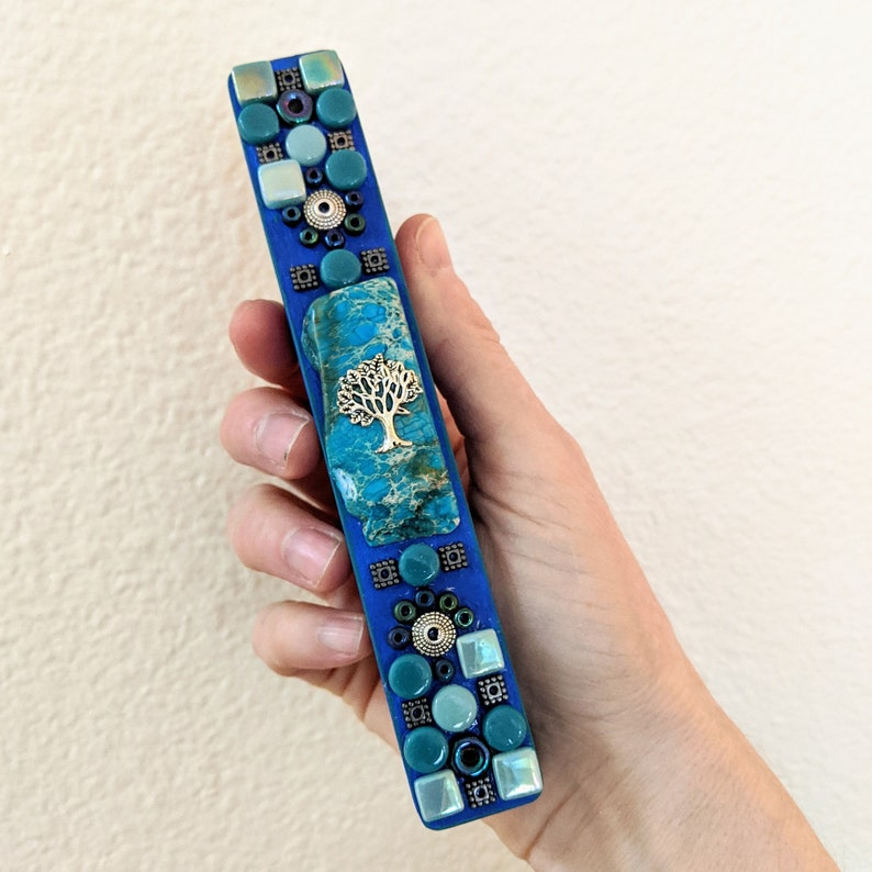 Mosaic Mezuzah Case & Scroll Tree of Life Accent image 0
