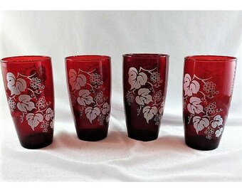 Water Tumblers Vintage Anchor Hocking Set of 4 Royal Ruby Red Glass Tapered Grape Vine 12 oz