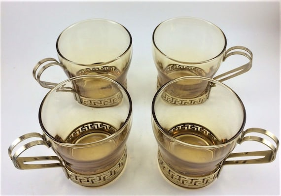4 Vintage Amber Libbey Glasses Greek Key Gold Metal Holder Coffee Mugs Cups Libbey Glass Company Marked
