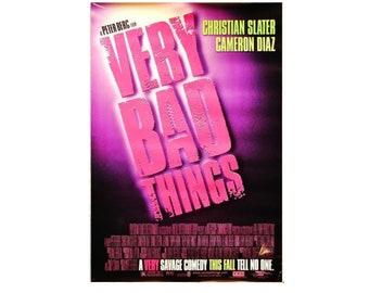 "Original 1998 VERY BAD THINGS Peter Berg Movie PoSTER 27x40"" Single-Sided Sheet Poster Christian Slater Cameron Diaz"