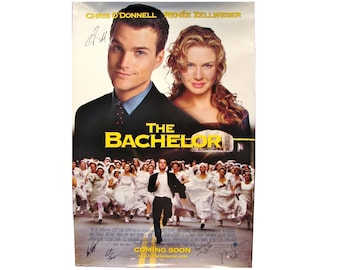 1999 THE BACHELOR Movie Poster 27x40 SIGNED Chris O'Donnell, Artie Lange, Director Gary Sinyor, + 2 others Original
